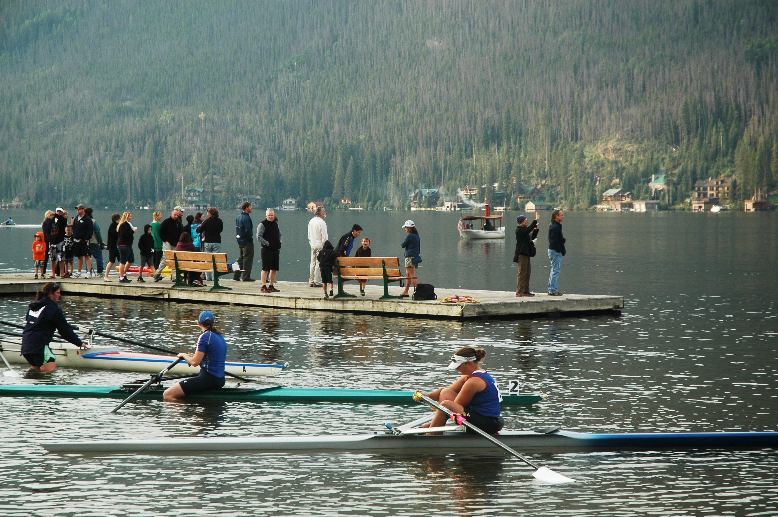 Kayakers enjoying the Spirit of the Lake Regatta . . . www.stayingrandlake.com #Kayaking #Boating #Regatta #GrandLake #Colorado