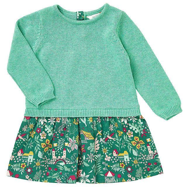 3c811b76d BuyJohn Lewis Baby Woodland Print Dress, Green/Pink, 0-3 months Online at  johnlewis.com