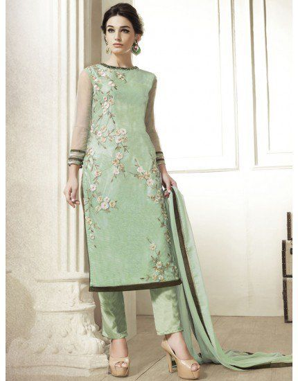 Light Green Soft Net Suit with Embroidery Work