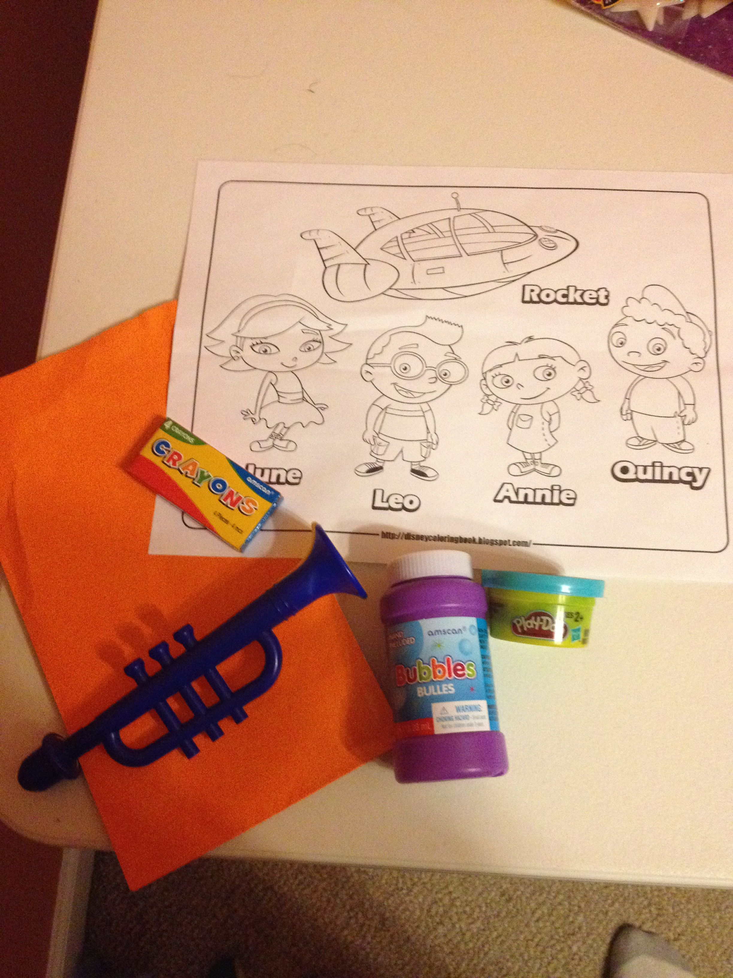 Little Einsteins Treat Bag Bubbles Crayons Coloring Sheet Play Doh Trumpet Little Einsteins Coloring Pages Einstein [ jpg ]
