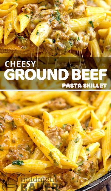 Cheesy Ground Beef Pasta Skillet #groundbeefrecipes