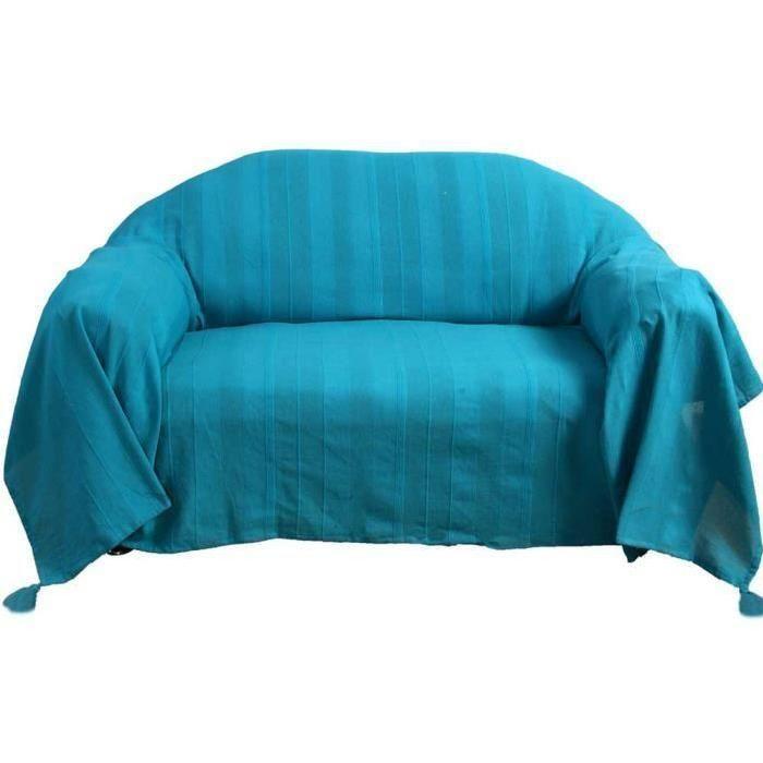 Jete De Lit Ou De Canape Rajput Turquoise 225 X 250 Cm Fundas Para Sillones Camas Sillones