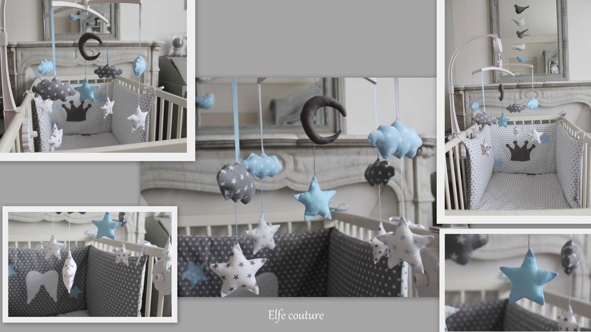 mobile pour petit prince thème nuages, étoiles & lune tons blanc