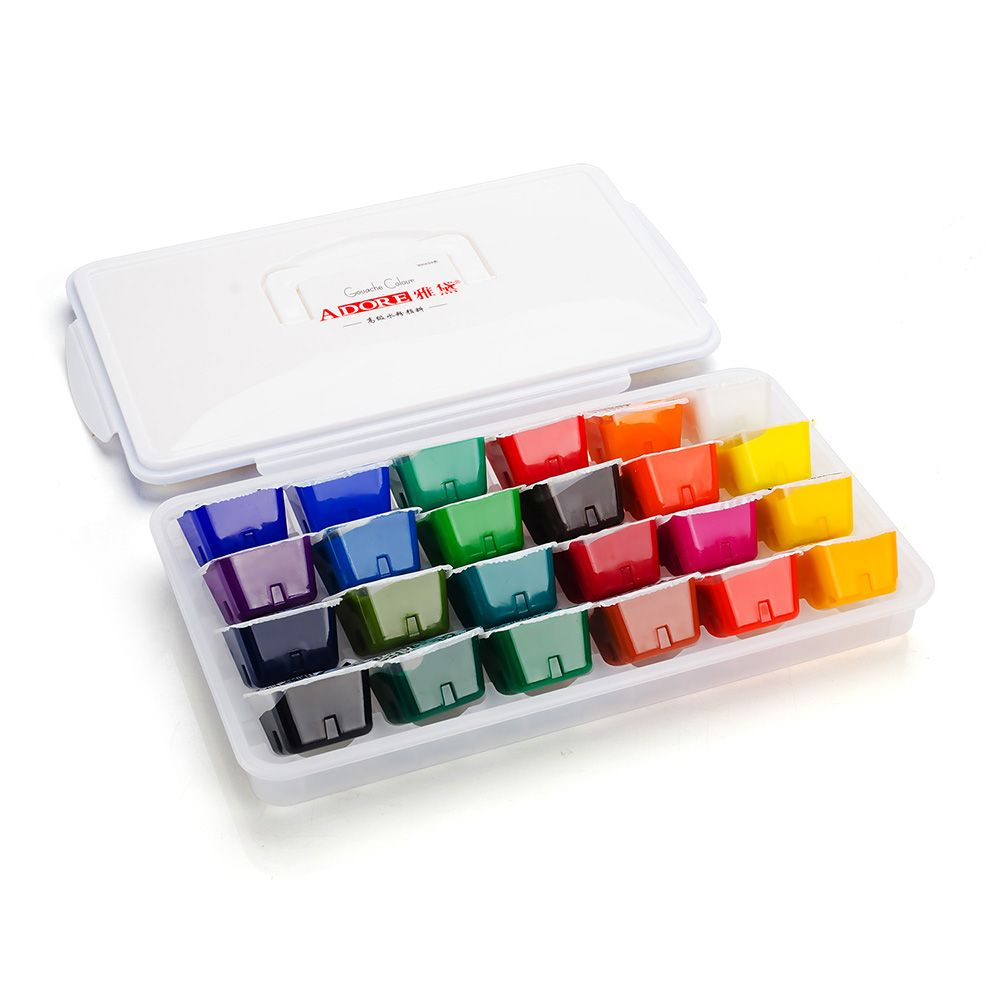 24 Portable Color Gouache Paint Set Unique Jelly Cup Design With