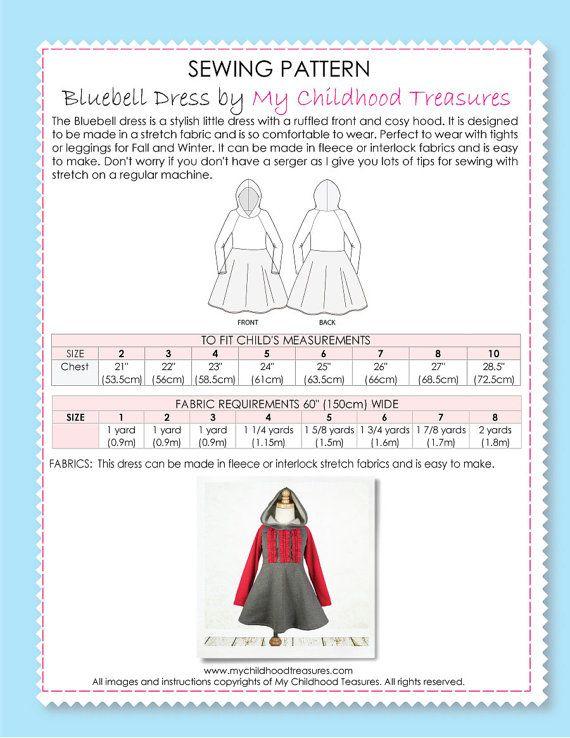 Patrón de costura para niños PDF las niñas por MyChildhoodTreasures ...