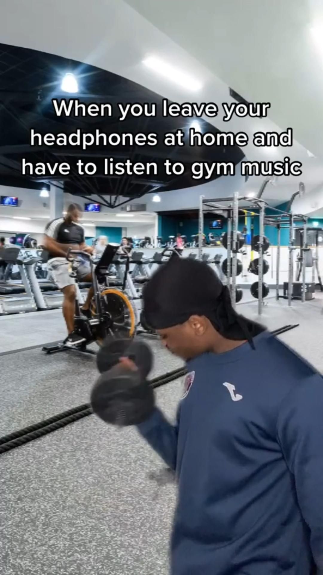 When you are forced to listen to the gym music 😂 Follow for more funny gym videos!