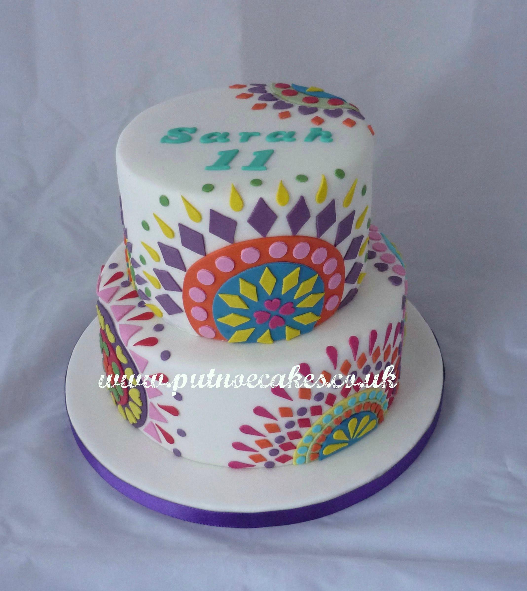 Desigual designer cake lots of colour and fun to make pasta