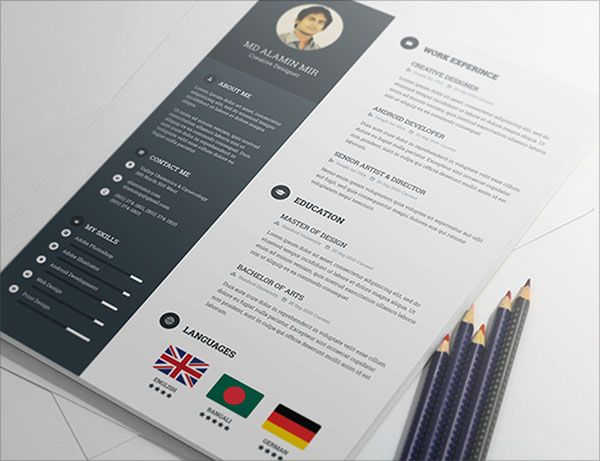 Free Resume Psd Template Best Free Resume Templates Resume Design Template Creative Resume Template Free