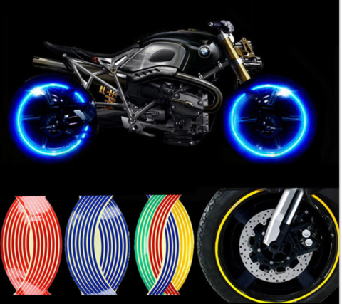 Motorcycle Styling Wheel Hub Rim Stripe Reflective Decal - Vinyl stripes for motorcyclescheckered universal motorcycle cafe racer racing vinyl stripe tape