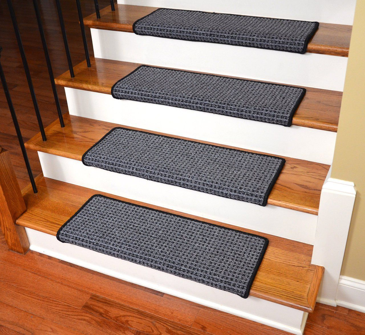 Dean Modern Diy Peel And Stick Bullnose Wraparound Non Skid Carpet Stair Treads Carpet Stair Treads Carpet Stairs Stair Tread Rugs