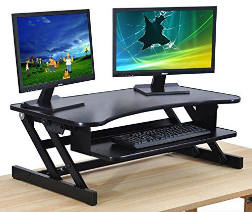 Standing Desk Adjustable Height Sit Stand Up Dual Monitor Easy Lift