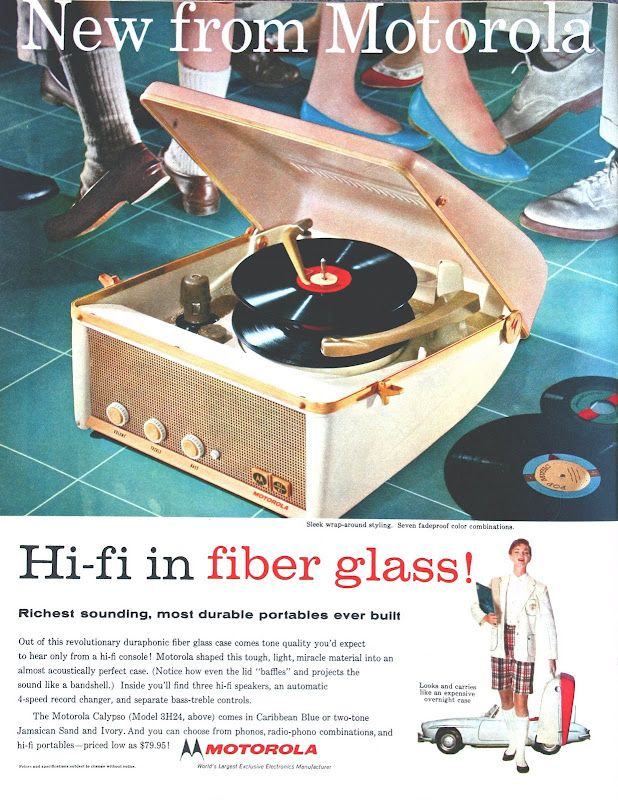 I'm Learning To Share!: Hi-Fi in Fiberglass! - The Motorola Calypso portable record player, 1957 print ad