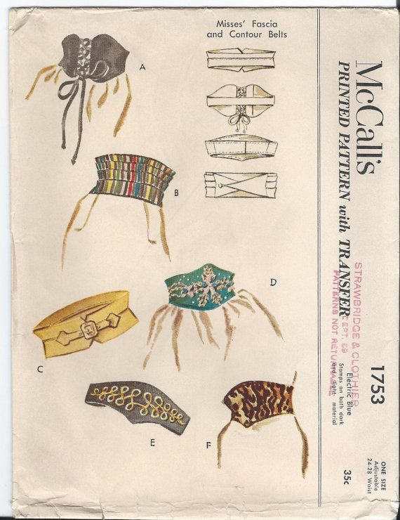 1950s Vintage Contour BELTS and CUMMERBUND Sewing by SewKnotMe, $15.00