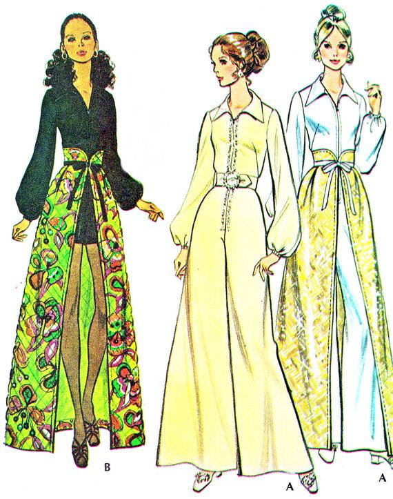 1970s Long Sleeve Wide Leg Womens Jumpsuit or Romper High Waist Open ...