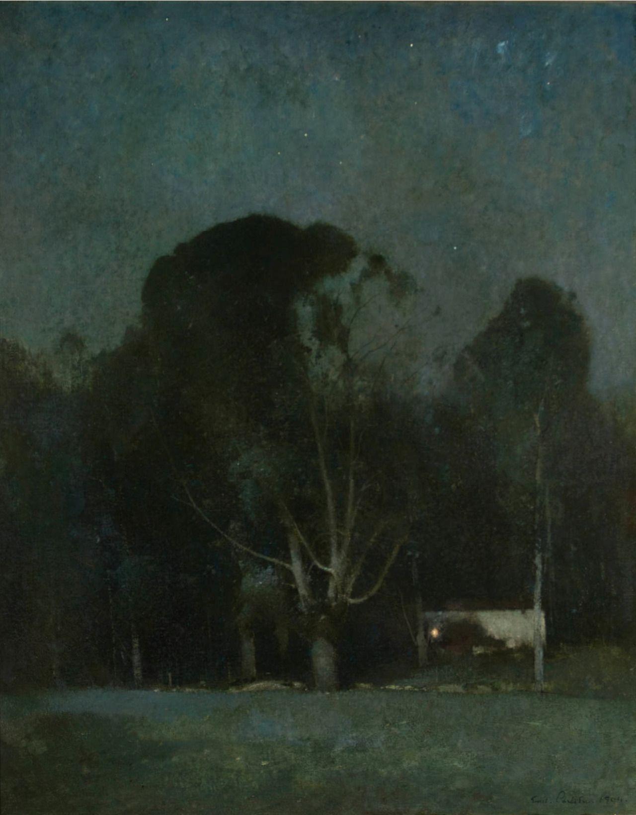 Emil Carlsen Night Old Windham 1904 Dark Landscape Night Landscape Night Painting