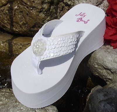 7621a2de55e4 Platform White Sequin Bridal Flip Flops for weddings. Weddingtennies ...