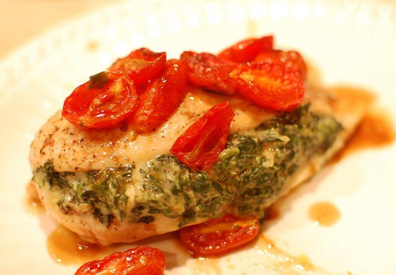 Pechuga de pollo rellena con espinacas y al horno - Pechugas de pollo al horno ...