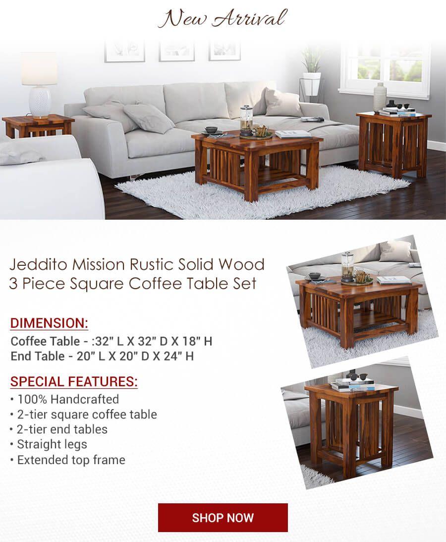 Jeddito 3 Piece Square Coffee Table Set Mission Style Coffee Table Square Coffee Table Coffee Table Setting [ 1093 x 900 Pixel ]
