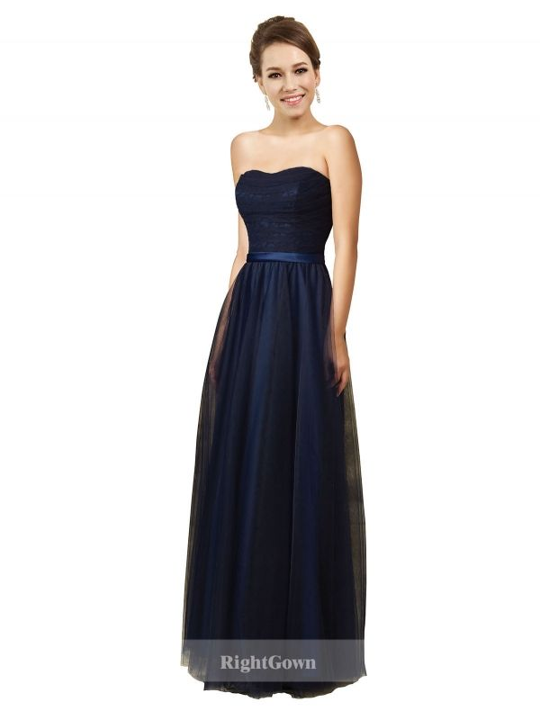 Wholesale Sweetheart Long Tulle Dark Navy Strapless 2018 Bridesmaid ...