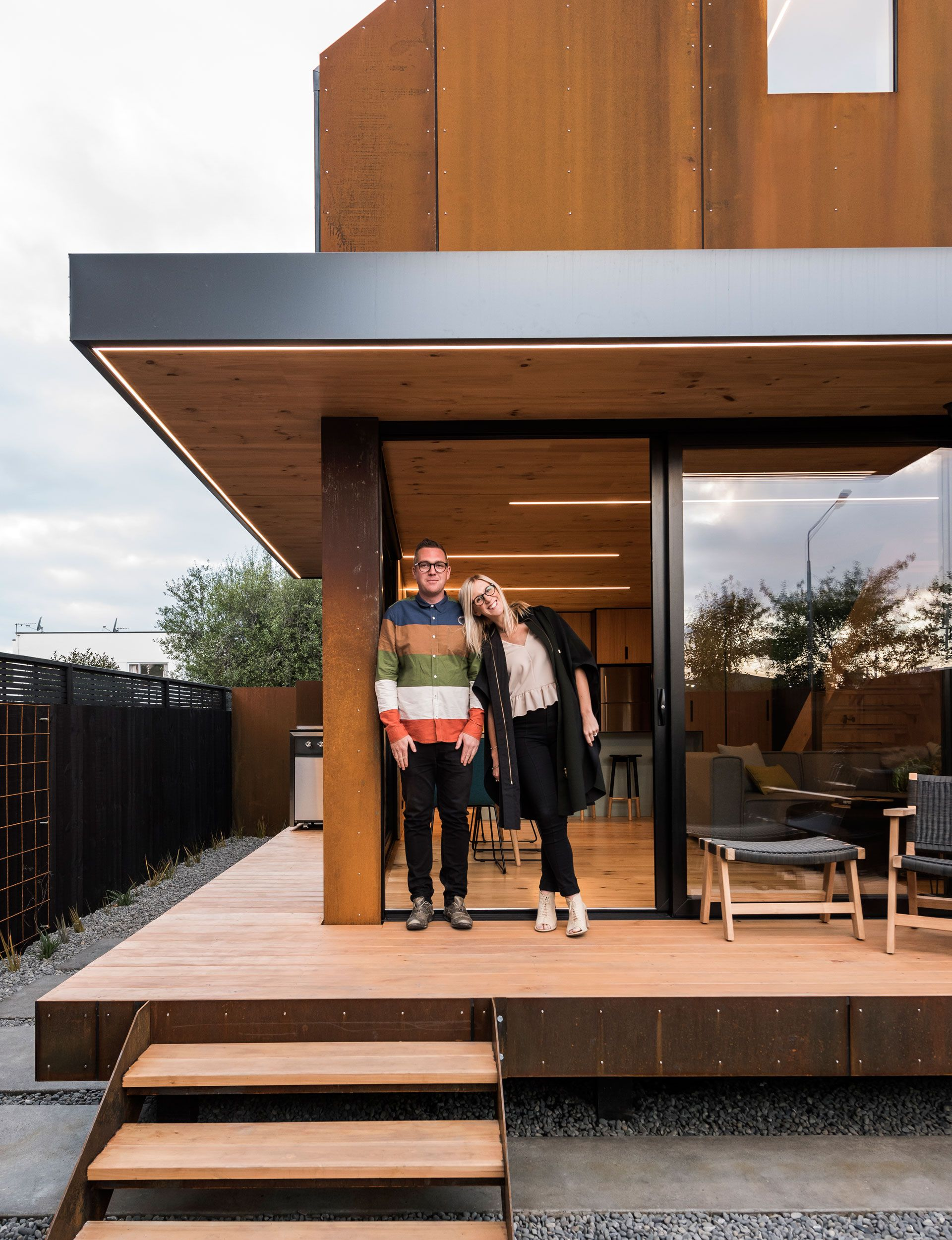 two compact homes squeeze into a tiny christchurch site houses rh pinterest co uk most space efficient home design