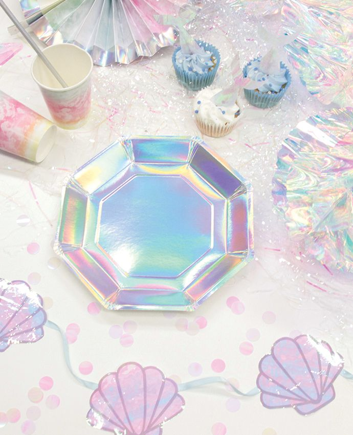 These iridescent party plates go perfectly with our mermaid decorations! This lovely kids\u0027 theme is popular grown-ups too! How to Throw an Iridescent Mermaid Party | Bday ideas