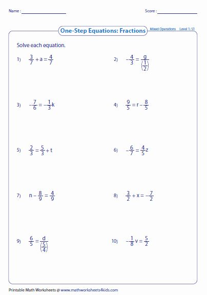 2 Step Equations Worksheet New E Step Equation Worksheets