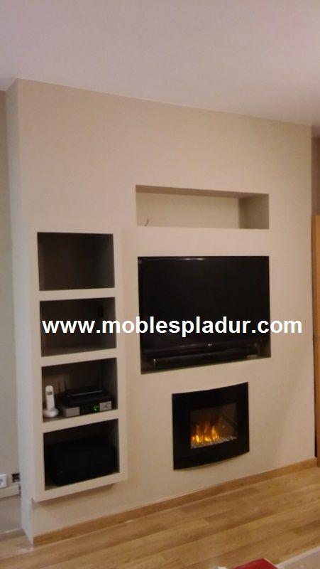 Mueble de pladur para instalar tv con todos sus accesorios y chimenea el ctrica con la funci n - Chimenea electrica mueble ...