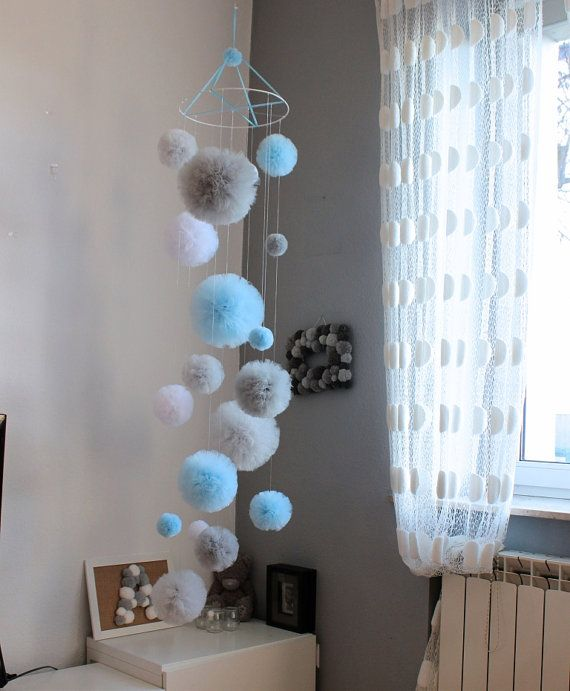 Tulle pom pom mobile Baby mobile Decorative by PomPomMyWorld #decorateshop