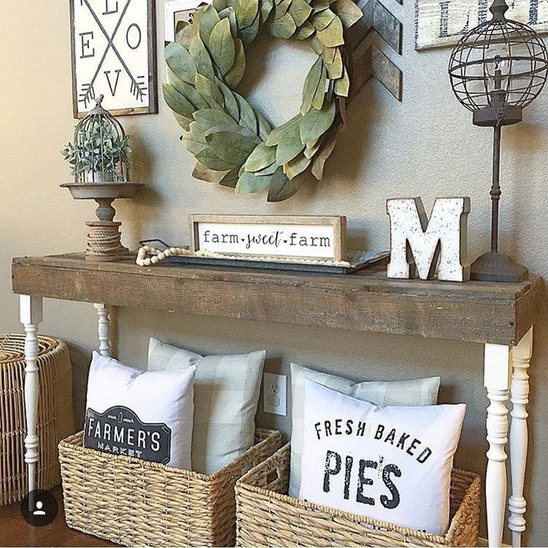 25 Editorial Worthy Entry Table Ideas Designed With Every: 99 DIY Farmhouse Living Room Wall Decor And Design Ideas