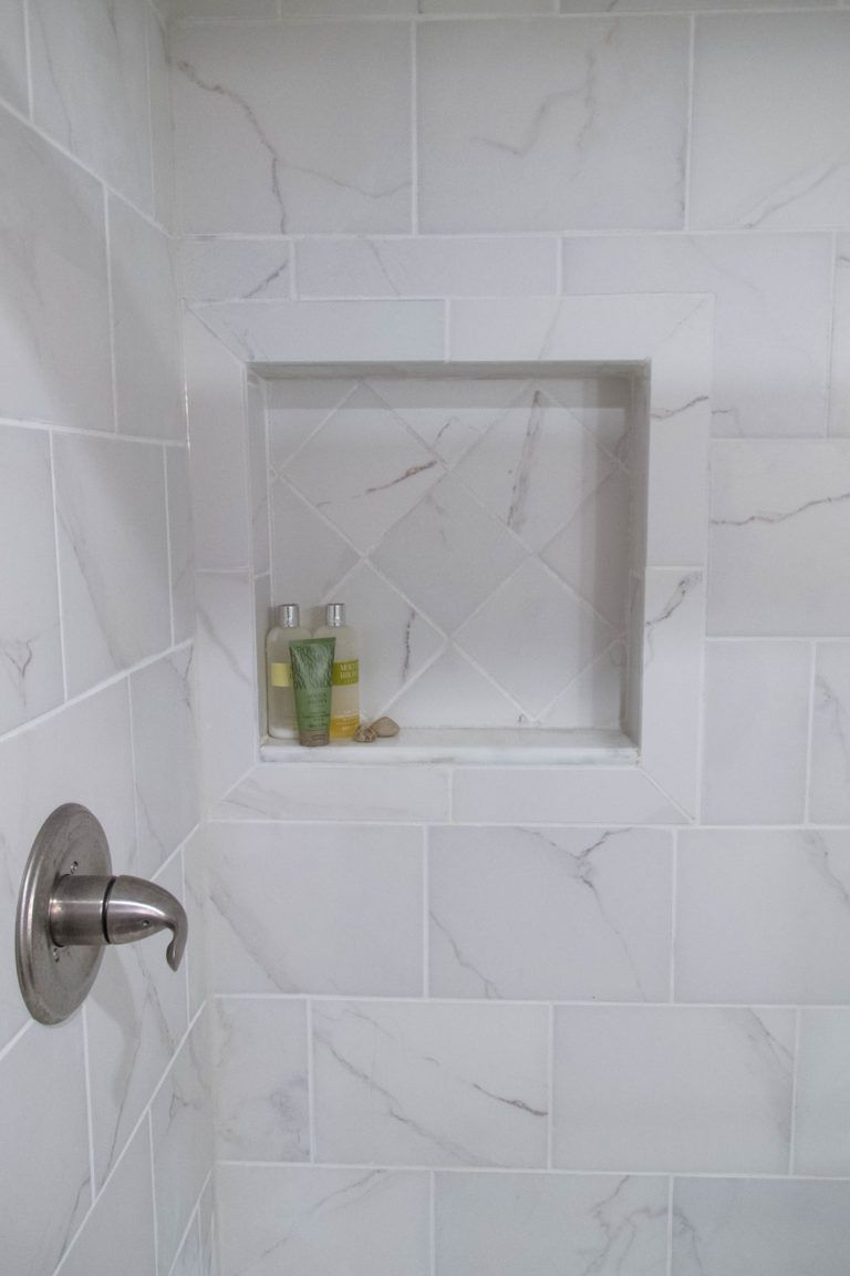 Recessed Shower Nook And Faux Marble Tiles Bathroom Addition