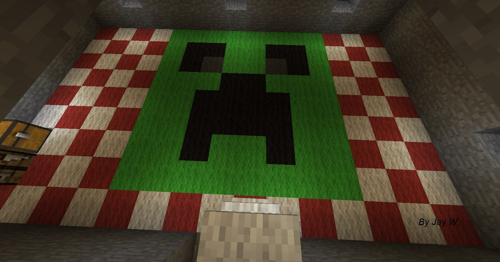 Creeper Face Pattern Made With Carpets Minecraft Creeper