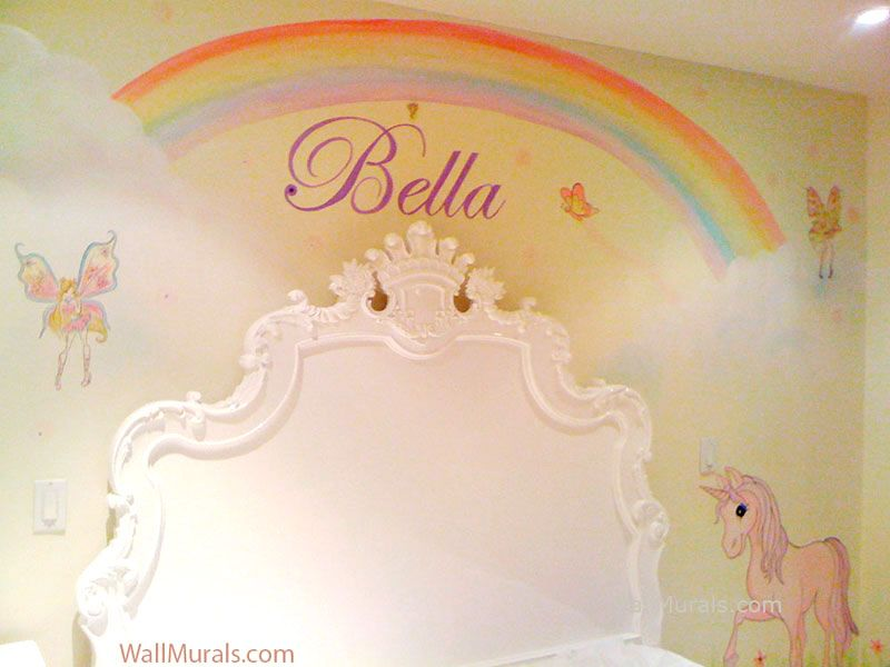Rainbow Wall Mural in Girls Bedroom Node Pinterest Rainbow