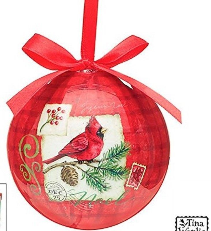 country cardinal christmas red hanging tree ornament bow holiday decor gift 3 - Red Cardinal Christmas Decorations