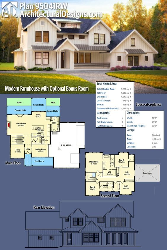 Marvelous Architectural Designs Modern Farmhouse Plan 95041RW Gives You Over 3,200  Square Feet Of Heated Living Space