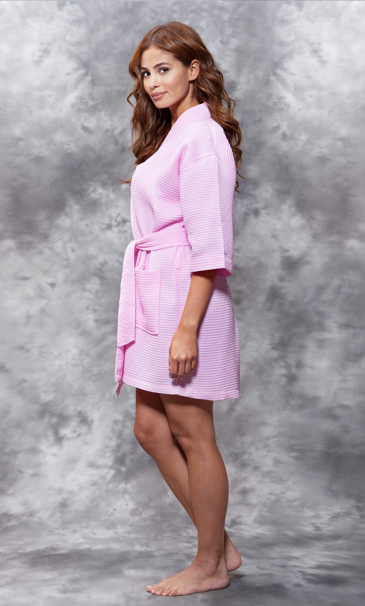 eb6605efa7 Economy Bathrobes    Waffle Robes    Waffle Kimono Pink Short Robe Square  Pattern - Wholesale bathrobes
