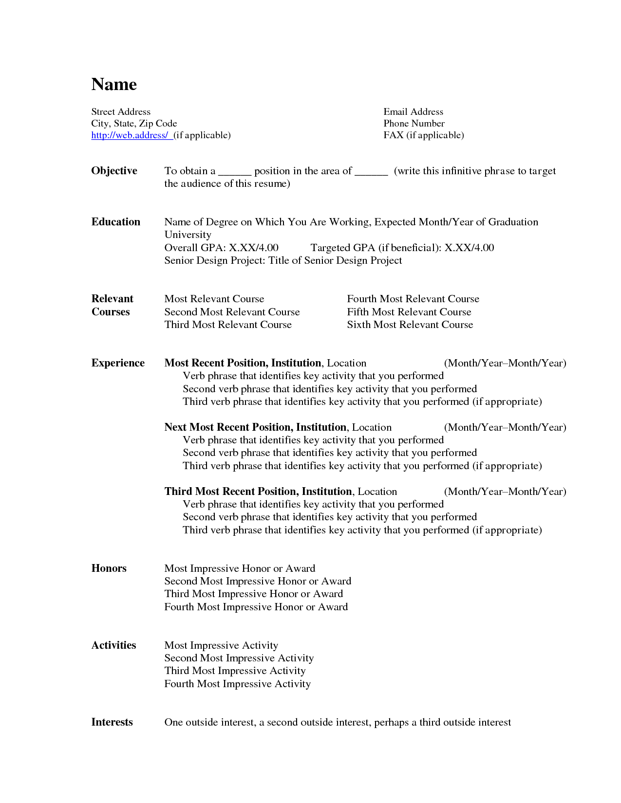 general resume template microsoft word