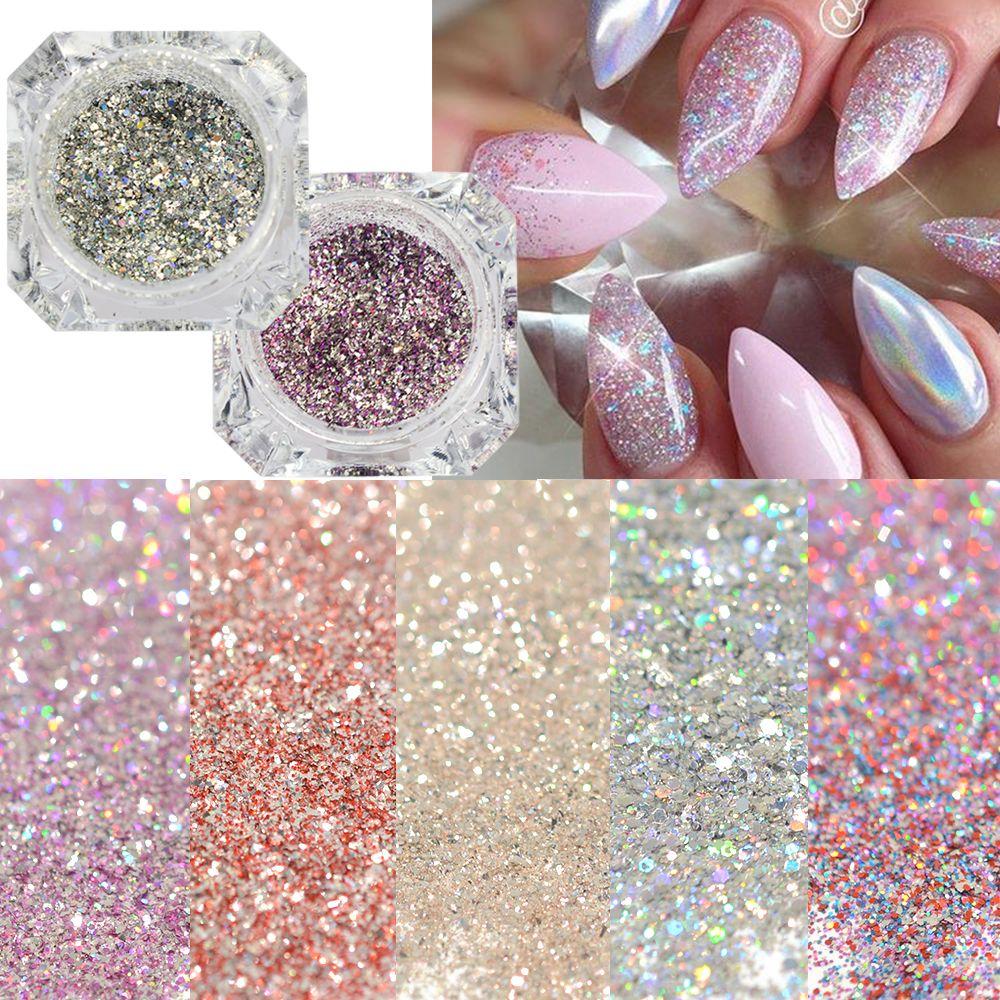1 Box Platin Glänzende Nagel Glitter Pulver Laser Sparkly Diamant ...