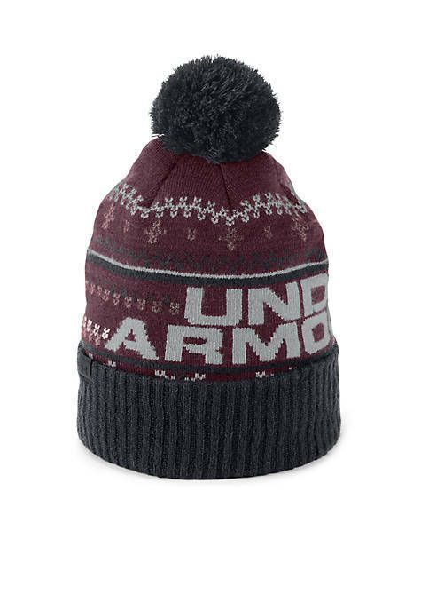 Under Armour Retro Pom Beanie 3.0 Black Coldgear Men FairIsle Snow Ski  Lodge New  Underarmour  Beanie b627f3b46a7