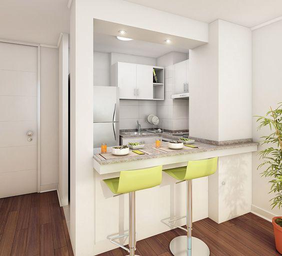 Diseños de cocinas pequeñas con barra | Tipps und Häuschen