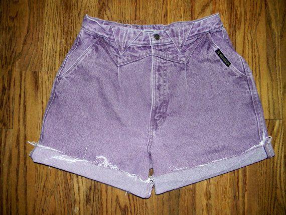 Vintage Denim Cut Offs - Vintage 80s/90s Purple Acid Washed Denim Jean Shorts - High Waisted Cut Off/Frayed Shorts - Sale - Large L - 12. $15.00, via Etsy.