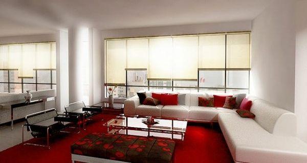 Einrichtung Trends Wohnzimmer weiß rot Sofa Stoff Home Sweet - einrichtung wohnzimmer weis