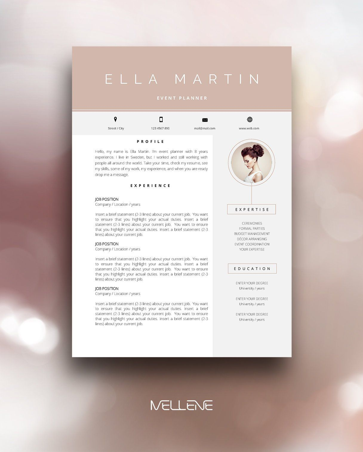 Resume Template 3 Page Cv Template Cover Letter Instant Download For Ms Word Ella Curriculum Vitae Modele Cv Template Cv