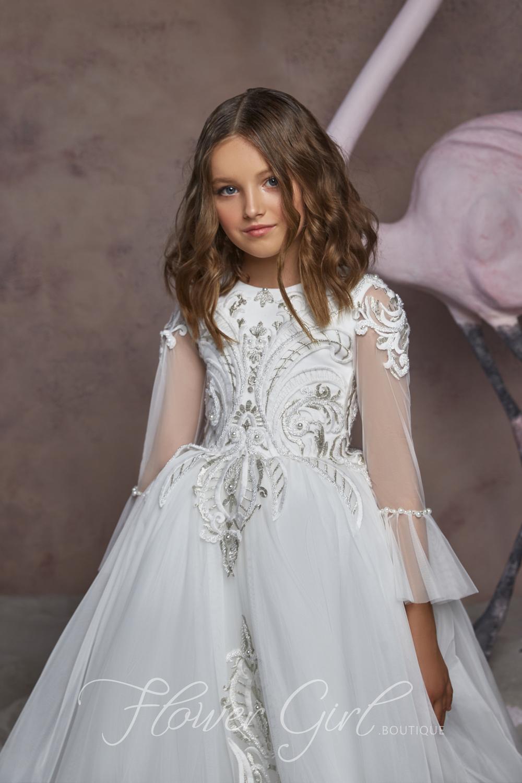 Flower Girl Dress Long Sleeve Girls Easter Dress Ball Gown Etsy In 2020 Girls Easter Dresses Ivory Girls Dress Long Flower Girl Dresses [ 1500 x 1000 Pixel ]