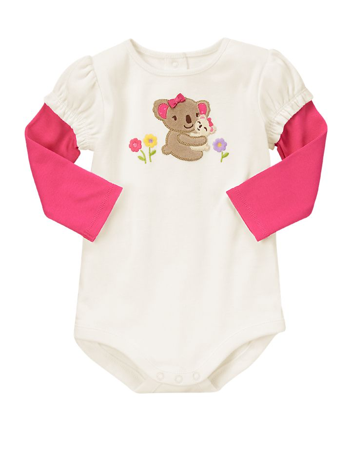 Koala love. Our adorable bodysuit features cute mommy and baby velour koalas for a sweet look. 100% cotton rib. For sizes Up to 5 lbs - 12-18 months. Features appliqus, satin bow and multicolor embroidery. Back and leg snaps for easy dressing. Screenprinted inside neck label for comfort. Inset sleeve for a layered look. Machine washable; imported. Collection Name: Brand New Baby.
