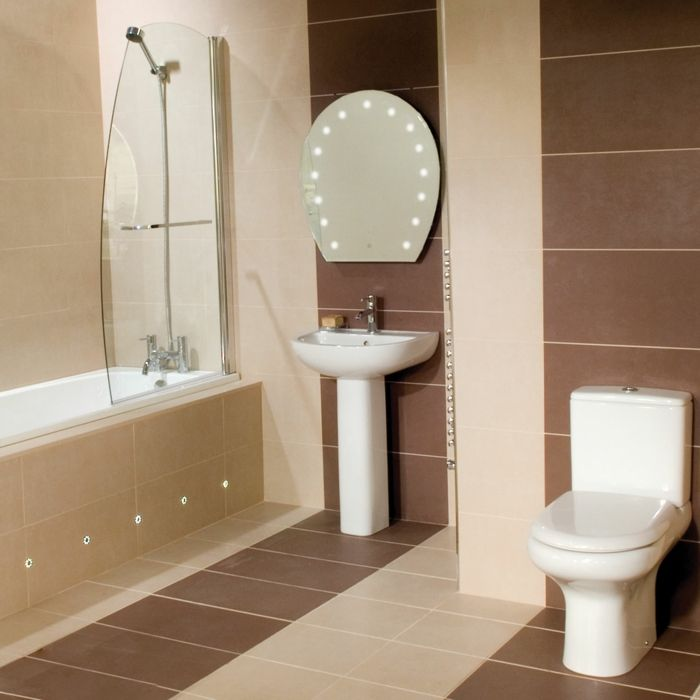 badefliesen beige braun fliesenform badewanne dusche kleines bad, Innenarchitektur ideen