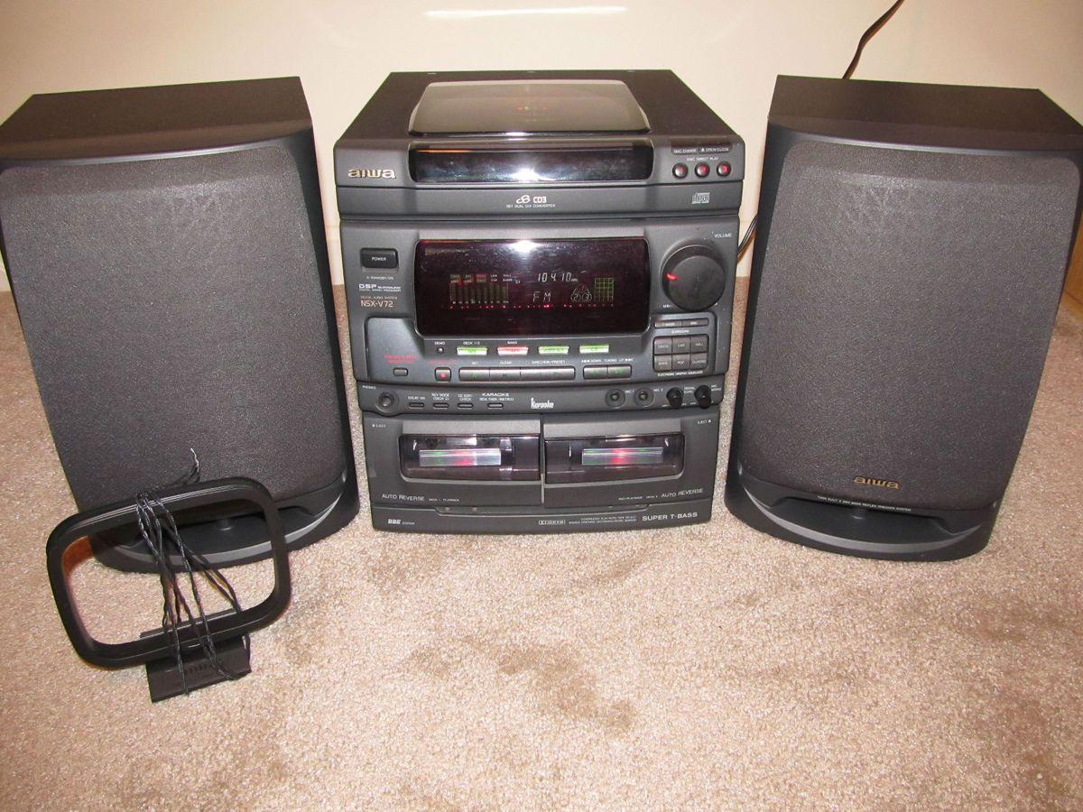 Aiwa Shelf Stereo System W 3 Disc CD Player Am FM Speakers Aux NSX V72