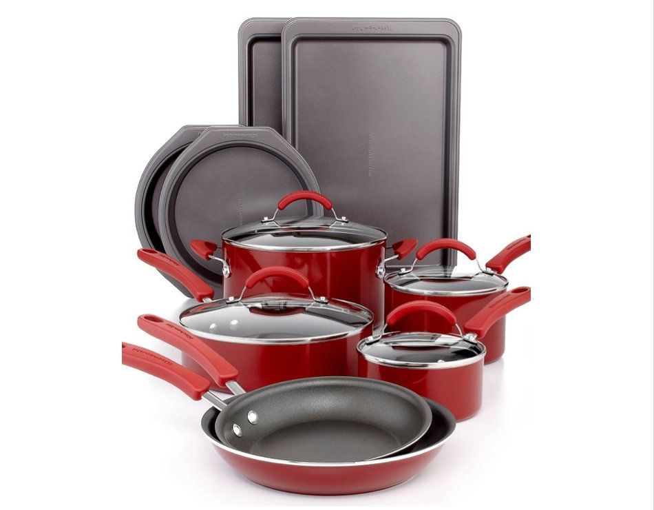 Kitchen aid 14 piece non stick cookware set red color high