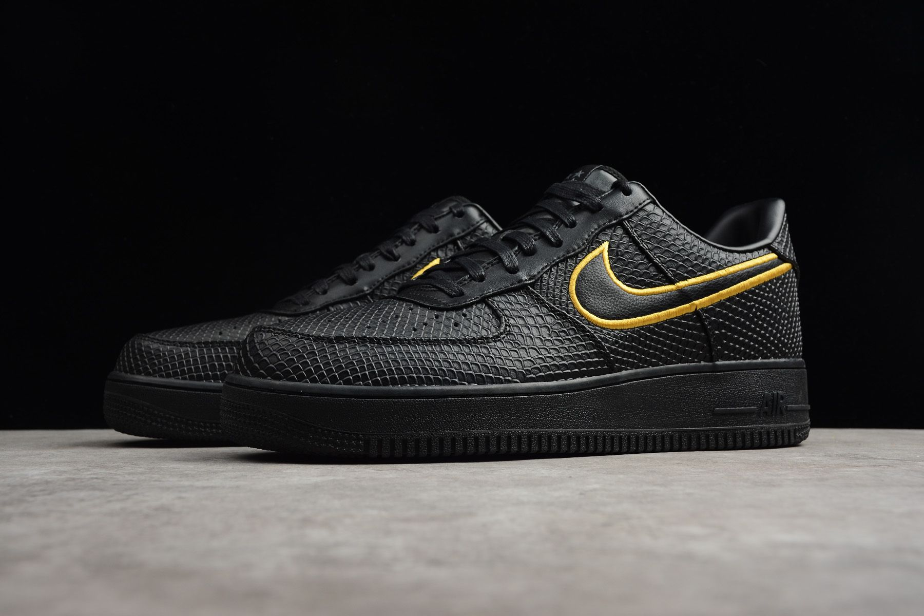 "online store c316e 26602 Nike Air Force 1 Low Premium iD ""Black Mamba"" Black Yellow AQ9763-991"
