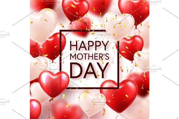 Mothers day background with red hearts balloons and confetti - greeting card template