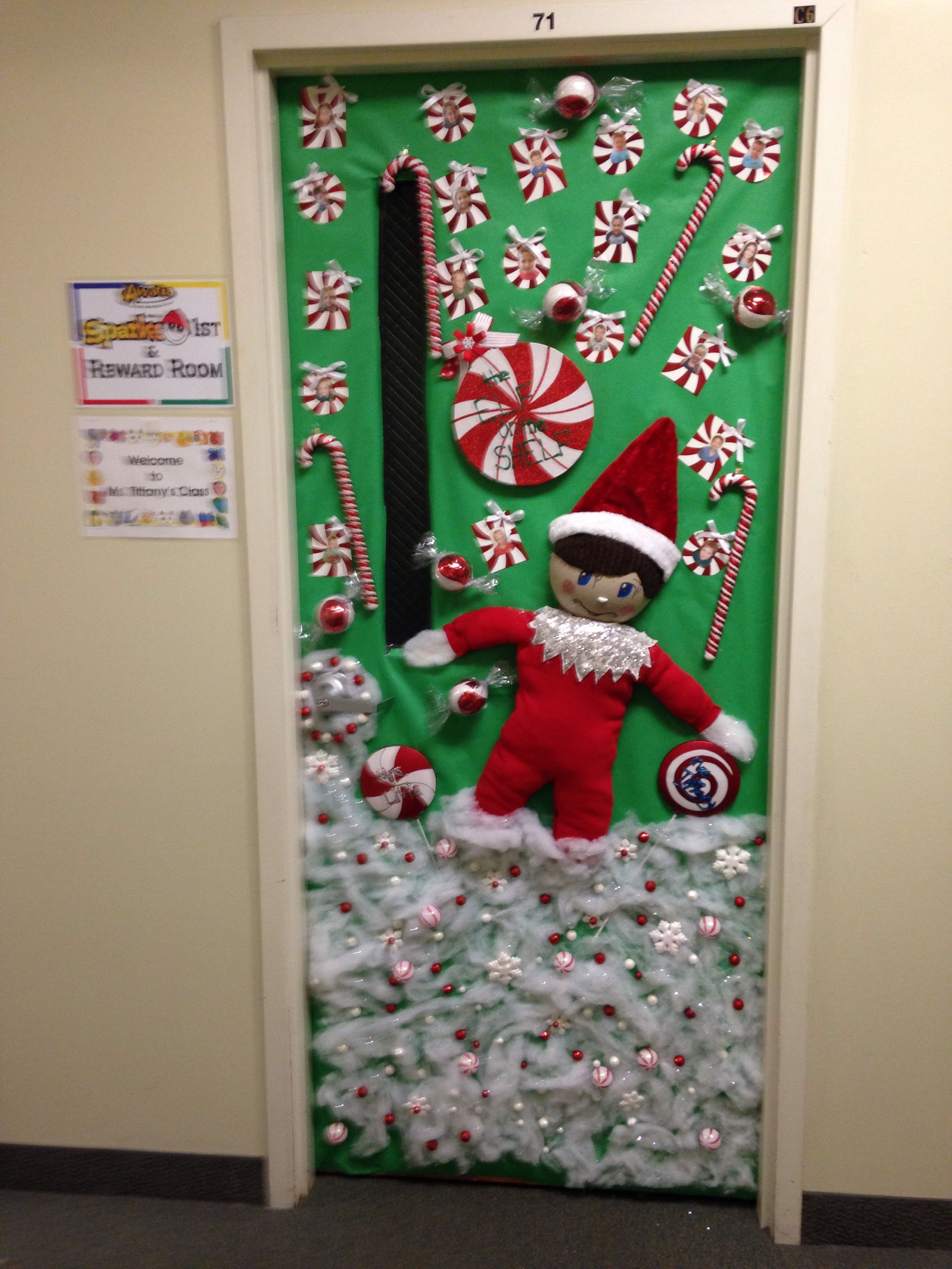 My sons orion 39 s vpk winter door this year decorated the for Elf door decoration